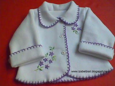 Izabel Biali: Casaquinho Bebê em Soft Bordado
