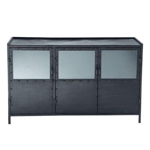 Credenza nera con vetrine stile industriale in metallo L 130 cm