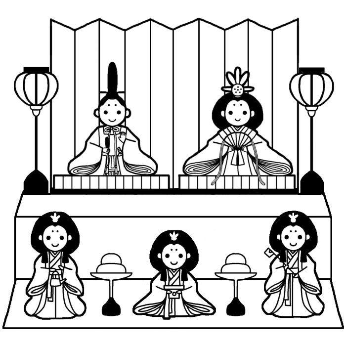 ひな壇(白黒)/ひな祭りの無料イラスト/春の行事・季節素材