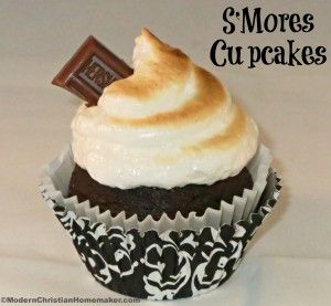 S'Mores Cupcakes w/ Homemade Marshmallow Frosting  --------  graham cracker crumb crust, chocolate cake mix, and  marshmallow frosting from scratch.