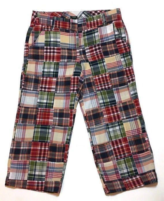 J CREW Favorite Fit Madras Capri Pants 8 Cropped Patchwork 33W 22L Midrise  Women  a6c1e7963