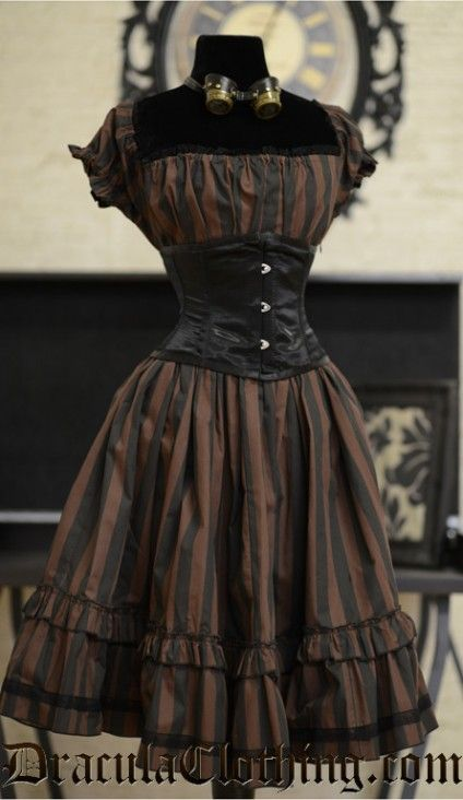 Steampunk - black and brown stripes with corset - classic! https://www.steampunkartifacts.com