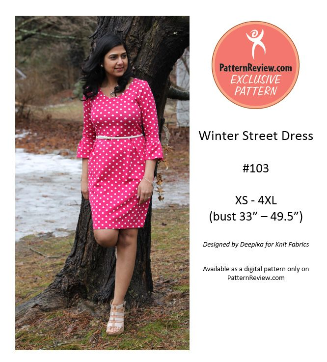Winter Street Dress - Easy knit dress which is flattering to most body types. Download at PatternReview
