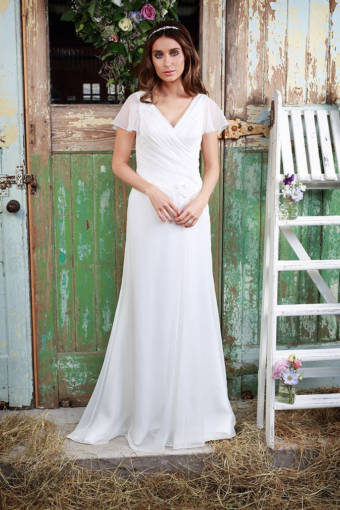 Amanda Wyatt Wedding Gown Logan Chiffon With A Dreamy V Neck Line Hand Sched Pleating