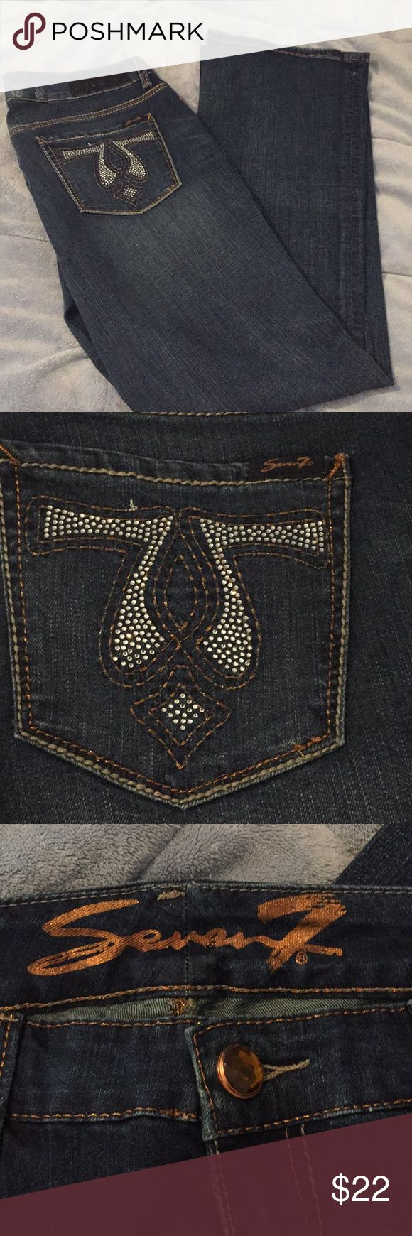 NWOT women's Seven7 jeans NWOT women's Seven7 jeans. Never worn so they are in excellent condition. Cute rhinestone design on the butt pockets. Stretchy comfortable material. Inseam is 32in (seen in picture). Slight flare Seven7 Jeans