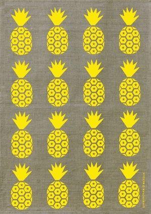 E&W Pineapple Tea Towel (Bold yellow on Beige) - hardtofind.