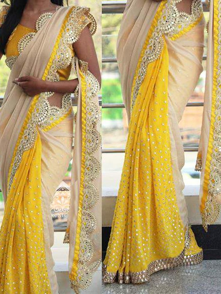 Beige with Yellow Designer #Bollywood #Replica Sequence Work #Saree