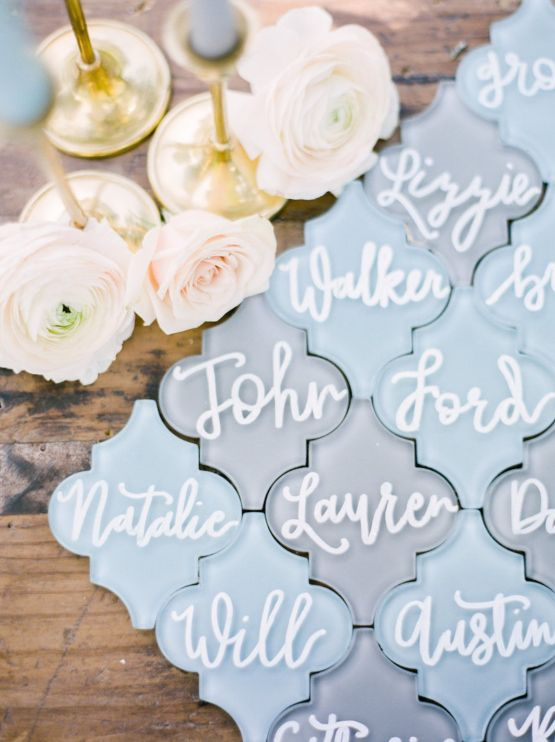 tile place cards, Elegant Pastel Wedding Inspiration by Christy Wilson Photography