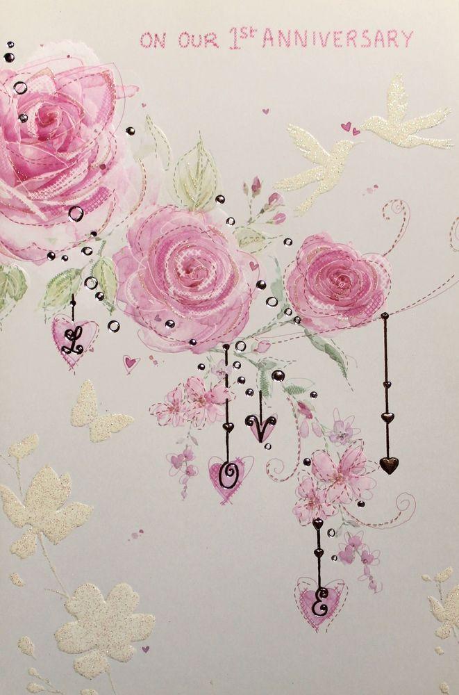 wedding anniversary greeting cardhusband%0A On our  st Anniversary greeting card  u     envelope  pink roses theme  brand new