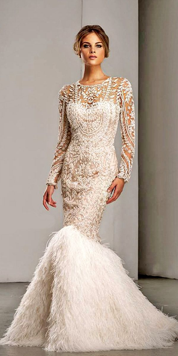 feather wedding gowns 10