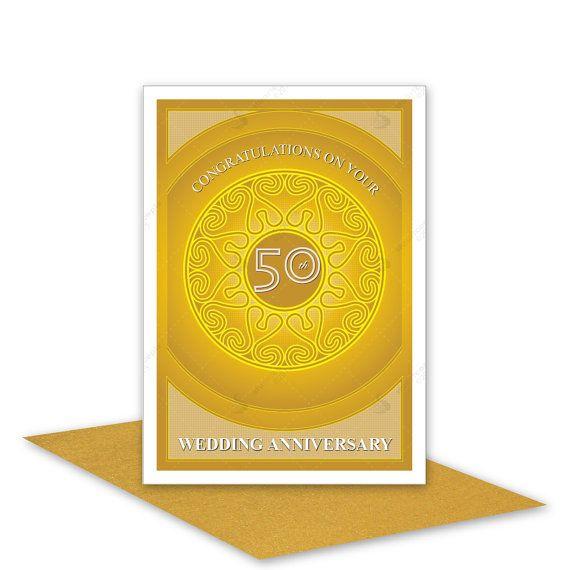 50th wedding anniversary card handmade golden by stuartconcepts