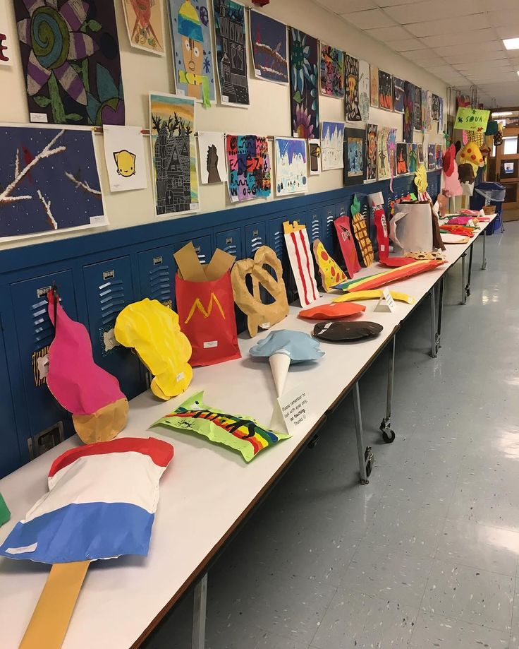 Another snap of the work displayed at open house last night at Central. #centralschool #msberngard #elementaryart #foodsculptures