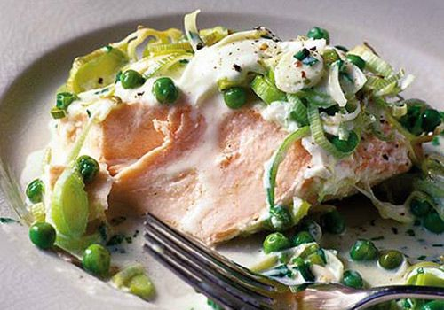 Salmon and leeks