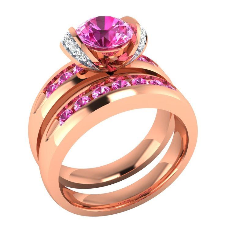 Anelli Di Fidanzamento SET: 15 Ct Diamanti Rotonda Con 14k Oro Giallo E Zaffiri Rosa | Engagement Rings