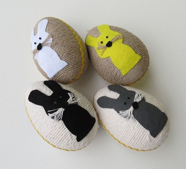Easter Eggs – String Easter egg hare set of 4 eggs – a unique product by Artan on DaWanda