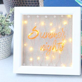 """Light Up Sign DIY. """"Summer Nights"""". So easy to make with LED battery lights."""