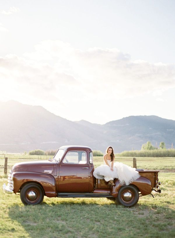 there is nothing as classy as a beautiful girl in a a vintage pick up truck
