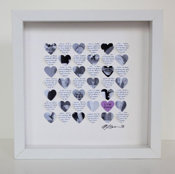 Unique Wedding Gift First Dance Song Lyrics And Photo Framed Hearts 10 White Shadow Box Frame