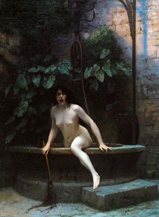 """Jean-Léon Gérôme Illustration: """"Vérité sortant du puits armée de son martinet pour châtier l'humanité"""", de Jean-Léon Gérôme, 1896."""