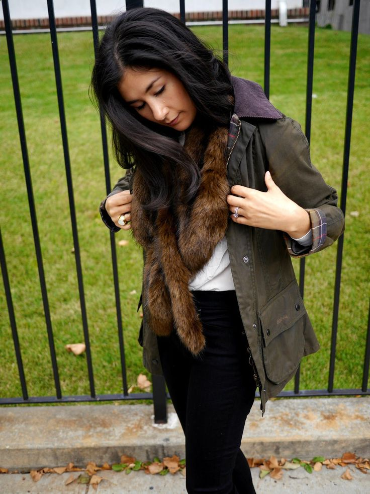 Silk round collar shirt: Everlane/ Black skinny jeans: LOFT/ Loafers: Gucci / Faux fur stole: Zara / Jacket: Barbour Beadnell Waxed Jacket