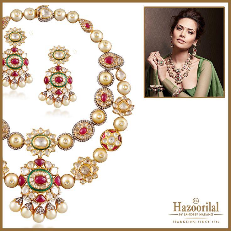 Add a magic touch to your ensemble with this rubies and polki necklace set. #HazoorilalBySandeepNarang #EveryPieceAMasterpiece @egupta #HazoorilalCampaign #Rubies #UncutDiamonds #Polki #BridalJewellery #ItcMaurya #DlfEmporio #HazoorilalJewellers #Hazoorilal