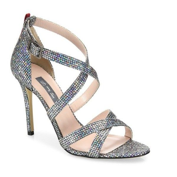 SJP by Sarah Jessica Parker Strut Strappy Sparkle Sandals (200 CAD) ❤ liked on Polyvore featuring shoes, sandals, pumps, silver, sparkly shoes, silver sparkly shoes, iridescent shoes, silver shoes and fleece-lined shoes