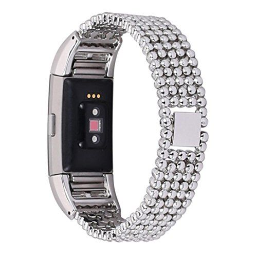 GBSELL Fashion Steel Bead Style Bracelet Smart Watch Band Strap For Fitbit Charge 2 2016 Sliver -- Be sure to check out this awesome product.