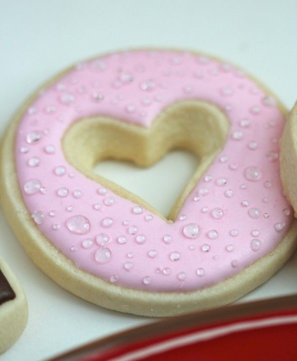 heart cookie with dew drops