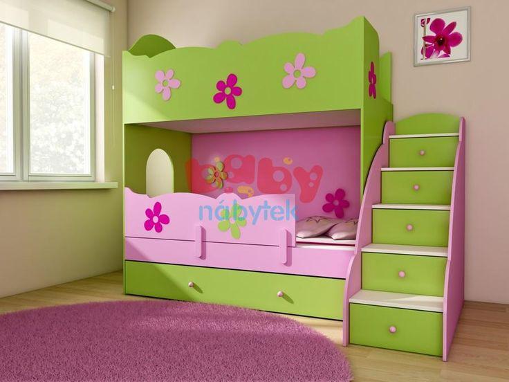 Patrová postel CLASIC pro matrace 180x90 s žebříkem - Dětské patrové postele