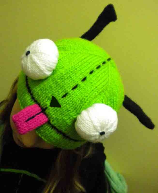 Invader Zim GIR Knit Hat - free pattern: Invaders Zim, Girly Knits, Knits Girly, Crafts Ideas, Awesome Hats, Girly Hats, Knits Hats, Zim Girly, Hats Invaders