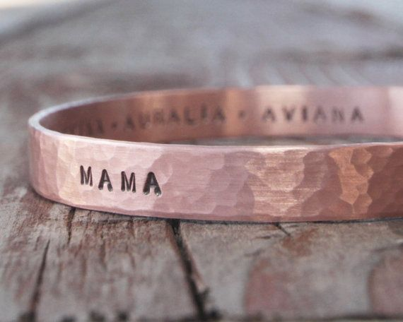 Valentine's Day Gift for Mom Bangle Bracelet Cuff Personalized Gift for Her Names of Kids Copper Bangle Chic Spring Fashion Fresh Finds