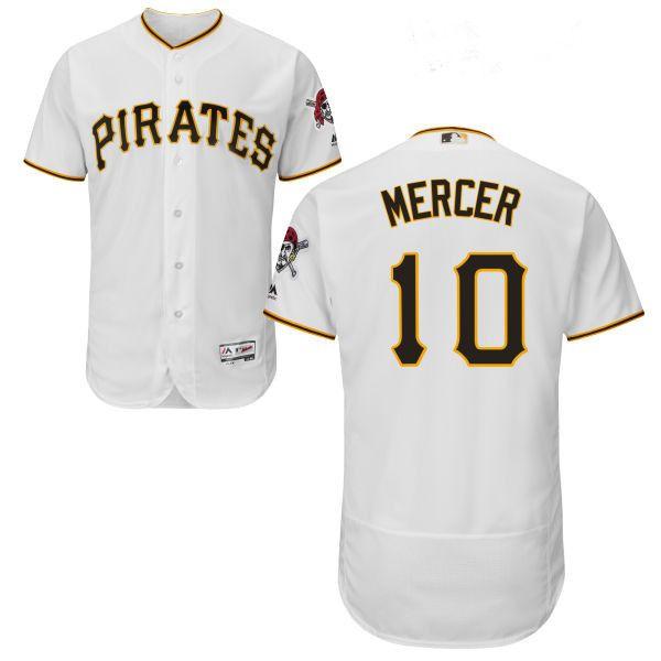 mens pittsburgh pirates10 jordy mercer white flexbase gray authentic baseball jersey