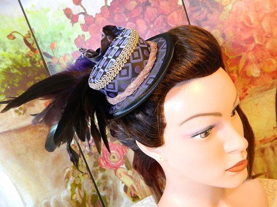 Minihat Summerhat purple brown Gothic Victorian Tophat Fascinator Minizylinder Steampunk Burlesque Larping Wedding Costume