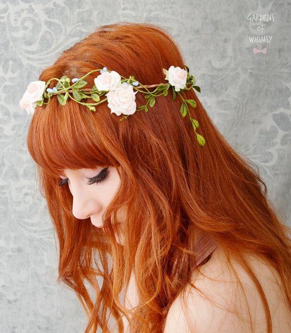Pink flower hair wreath wedding woodland crown by gardensofwhimsy