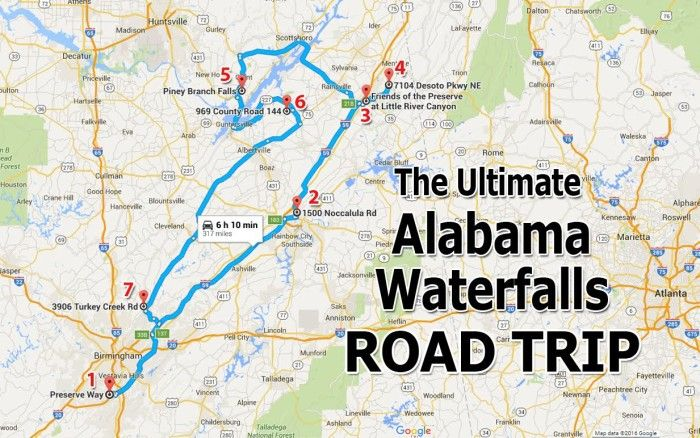 As you can see, the total mileage for this ultimate Alabama waterfalls road trip is only 317 miles, with an estimated drive time of six hours and ten minutes.