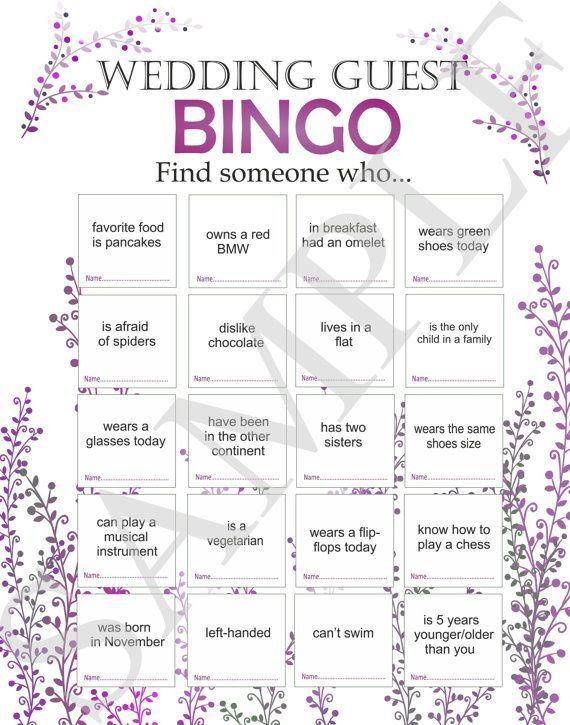 Wedding Reception Games, Custom Wedding Game, Guest Wedding Games, Printable Bingo Game, Ice Breaker for Guests. Wedding bingo – Bingo