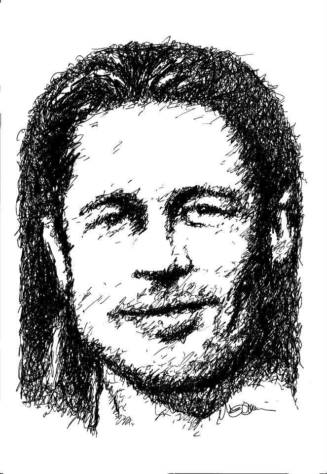 Titolo: Brad Pitt Tecnica: China gel + Pennarello + Grafite Tempo d'esecuzione: 17 minuti #portrait #art #BradPitt