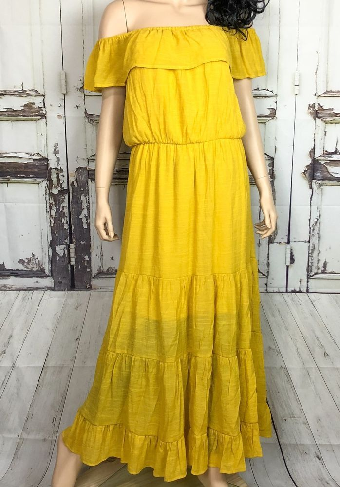 b4cacf7a551 Mlle Gabrielle Yellow Tier Maxi Dress Sz XL Crinkle Off Shoulder Lined NWT   MlleGabrielle  MaxiDress  AnyOccasion