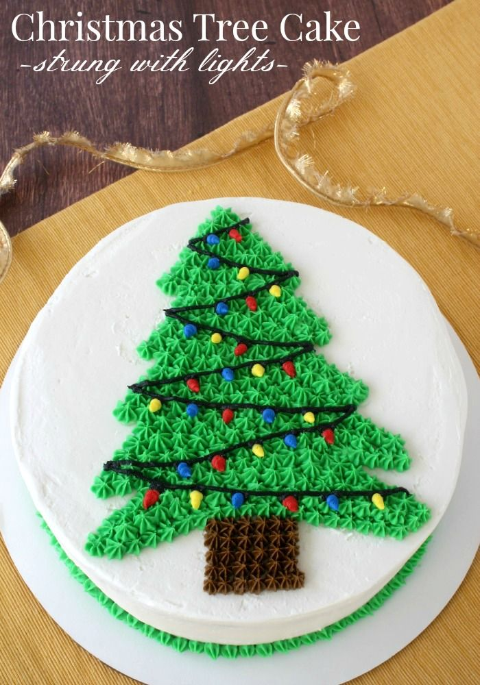 Christmas Tree Cake Strung With Lights