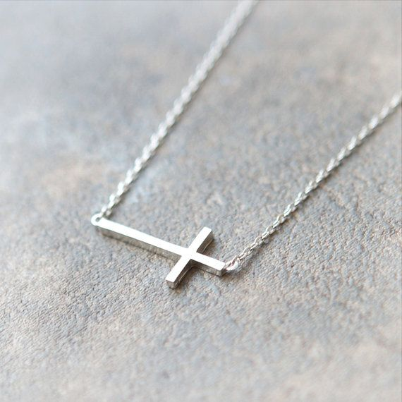 Sideways Cross Necklace in silver $15.00