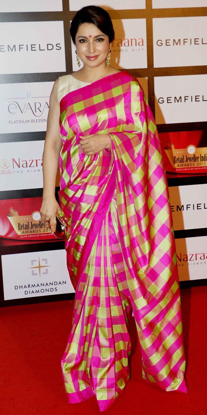 Tisca Chopra at the 11th Gemfiells & Nazrana Retail Jeweller India Awards 2015. #Bollywood #Fashion #Style #Beauty #Desi #Saree #Sari