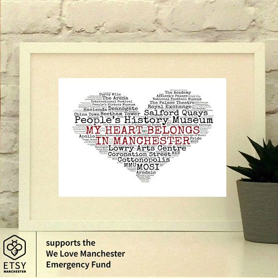 My Heart Belongs in Manchester  This heart full of Manchester Cultural locations and is a perfect gift for any Manc household.  As part of the Etsy Manchester teams #EtsyTeams4Mcr fundraiser, Im donating £5 from the sale of this Pepper Doodle to the We Love Mcr Emergency Fund/MEN We Stand Together Manchester appeal launched following the terrible events at Manchester Arena on 22nd May 2017. The Etsy Manchester team wants to raise funds to support victims and their families following the…