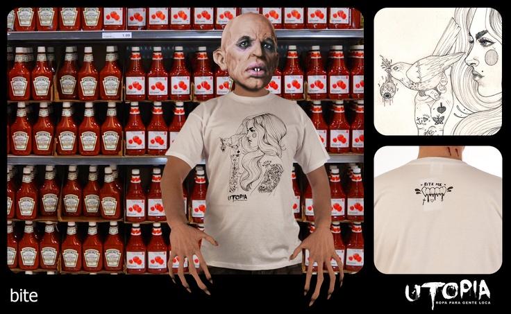 http://www.facebook.com/UtopiaLux  Unusual tshirt design.  #vampire #tshirt #ketchup #transilvania #bite #design #lookbook #sick #funny #utopia