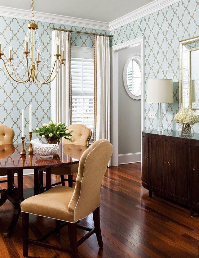 Dining Room Wallpaper and Chandelier. Liz Carroll Via House of Turquoise.