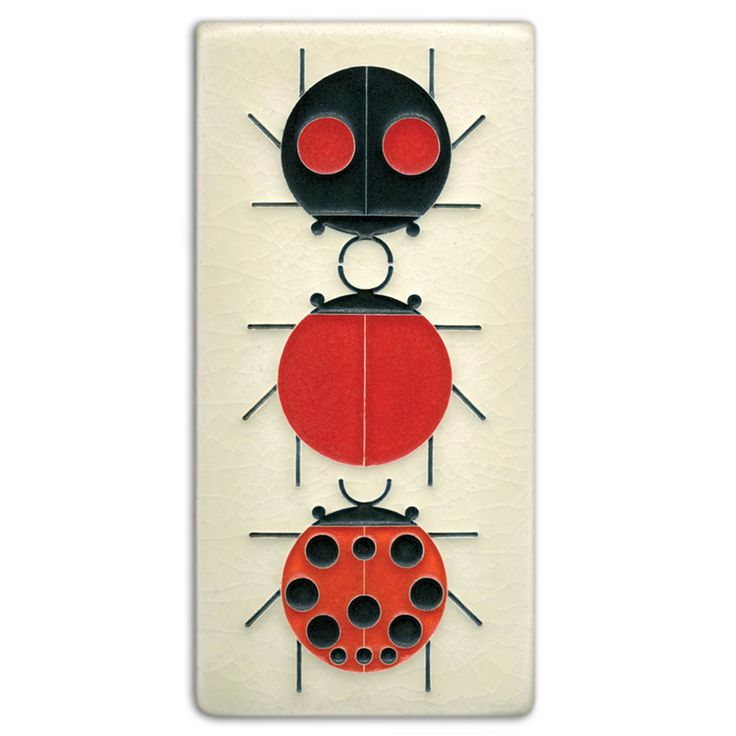 """""""All the world loves a ladybug. They're insect friend Number 1."""" - Charley Harper Mid-century modern meets Motawi mastery in these tiles based on the work of celebrated wildlife artist Charley Harper"""