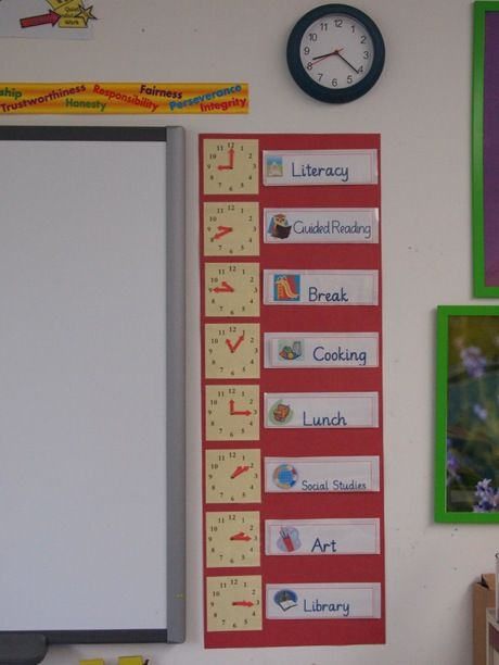 Great visual display of classroom schedule and showing where the hands on the clock are when each subject begins