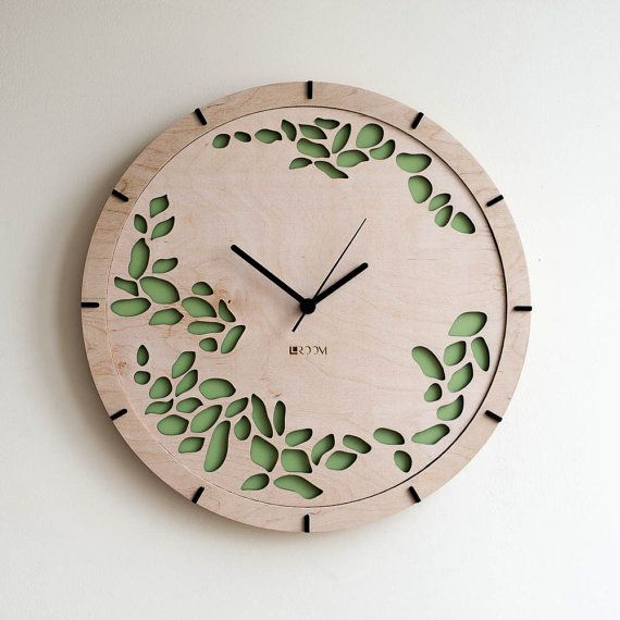 "Modern Wall Clock ""Tree leaves"" Large Wall Clock, Wooden Clock, Wood Decor Green Leaves Interior, plywood, handmade, swarowski, hermle, zen"