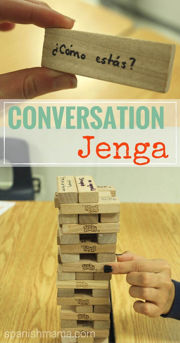 Conversation Jenga! Write questions on the blocks and have students answer as they play. Get your students speaking Spanish (or French, or German, or whatever language you teach!) and make conversation practice their favorite part of class.