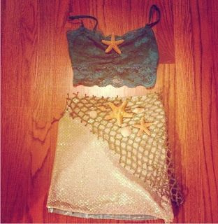 diy mermaid costume... might make my skirt something like this, just with a lot more of everything on it