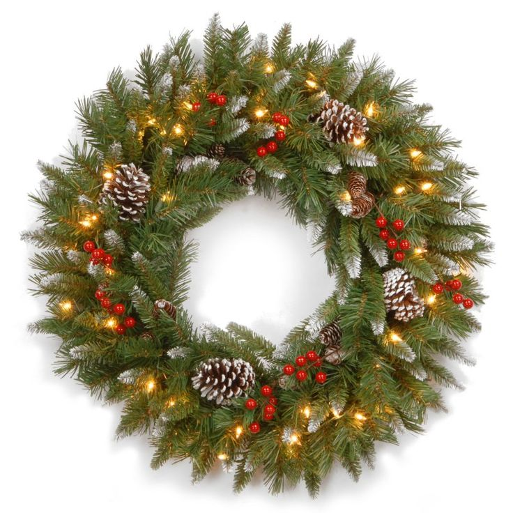 30 in. Frosted Berry Pre-Lit Wreath - FRB-30WLO-1